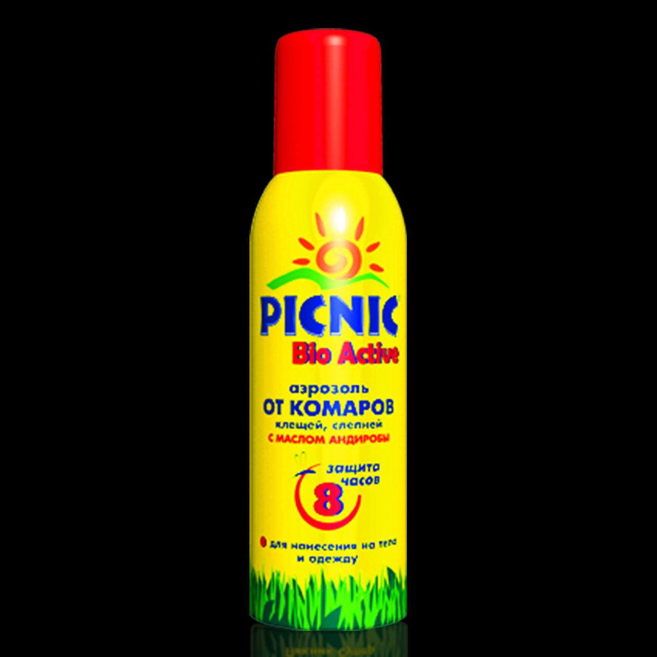 Средство от комаров Пикник Picnic Аэрозоль 8 ч. Bio Active(СпрКомар_Picnic-8h), фото 1