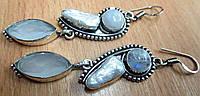 """Симпатичные серьги  с натуральным лунным камнем, жемчугом """"Ситара"""" от студии LadyStyle.Biz, фото 1"""
