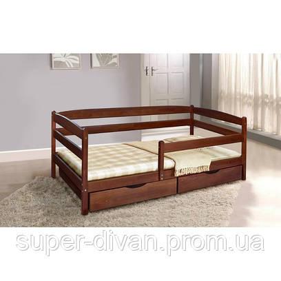 Кровать  Ева (Бук) 0,9 с ящиками и боковой планкой