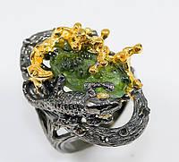 """Оригинальный перстень """"Ящерка """" с зеленым сапфиром , размер 17,5 от студии LadyStyle.Biz, фото 1"""