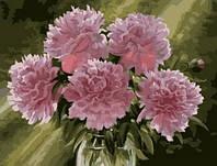 Картины по номерам/обложка. Розовые пионы в вазе. 40*50