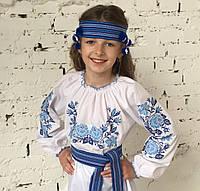 """Вышиванка для девочки """"Розы в саду"""" с голубыми цветами на рост 98 см - 152 см, фото 1"""