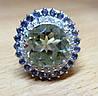 """Цветочное кольцо с танзанитами и празеолитом """"Лотос"""" , размер 17,2 от студии LadyStyle.Biz"""