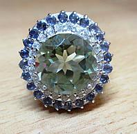"""Цветочное кольцо с танзанитами и празеолитом """"Лотос"""" , размер 17,2 от студии LadyStyle.Biz, фото 1"""