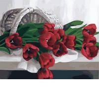Картины по номерам/обложка. Тюльпаны в корзине. 40*50