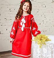Вышитое красное платье для девочки на длинный рукав