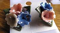 Серьги-гвоздики из полимерной глины с эмалью от Студии  www.LadyStyle.Biz, фото 1
