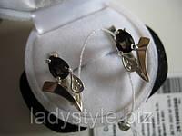"""Серебряные серьги с раухтопазом """"Тюльпан"""" от студии LadyStyle.Biz , фото 1"""