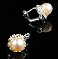Жемчужные серьги золотистые от Студии LadyStyle.Biz