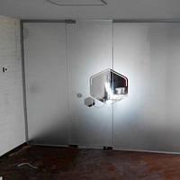 Стеклянная перегородка с маятниковой дверью из закаленного стекла с матовым рисунком