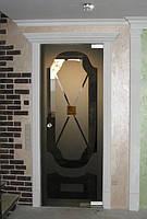 Стеклянная перегородка с маятниковой дверью из бронзового закаленного стекла