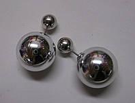 """Блестящие серебристые серьги """"Дуэт"""" от студии LadyStyle.Biz, фото 1"""
