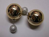 """Блестящие золотистые серьги """"Дуэт"""" от студии LadyStyle.Biz, фото 1"""