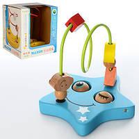 """Деревянная игрушка """"Лабиринт"""" на проволке,13,5см, 2 вида, в кор. 14*14*14см (40шт)"""