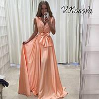 Элегантное женское платье в пол материал атлас, с пояском. Цвет персиковый