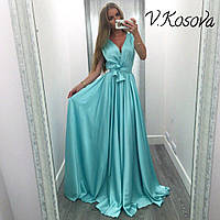 Элегантное женское платье в пол материал атлас, с пояском. Цвет голубой