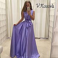Элегантное женское платье в пол материал атлас, с пояском. Цвет сиреневый