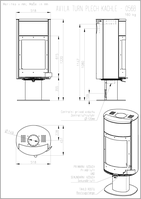 Печь-камин   Avila T (металл+камень)