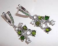Серебряные серьги с диопсидами и цаворитами от студии LadyStyle.Biz, фото 1