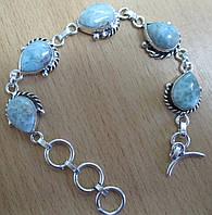 """Изящный серебряный браслет с натуральными  ларимарами """"Форсаж"""" от студии LadyStyle.Biz, фото 1"""