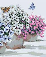 Картины по номерам/обложка.  Цветы в горшочках. 40*50