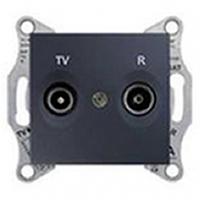 Розетка телевизионная - радио (TV-R) оконечная, графит, Sсhneider Electric Sedna Шнайдер Седна