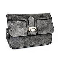 Мини сумочка из кожзаменителя темно-серая
