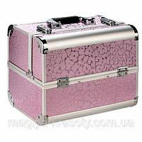 """Алюминиевый кейс для косметики с выдвигающимися полками """"Сияние"""" светло розовый"""