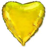 """Фольгированный шар без рисунка 18"""" Сердце золотое"""