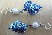 """Шикарные оригмнальные  серьги с ракушками и жемчугом  """"Морская фантазия"""" от LadyStyle.Biz, фото 1"""