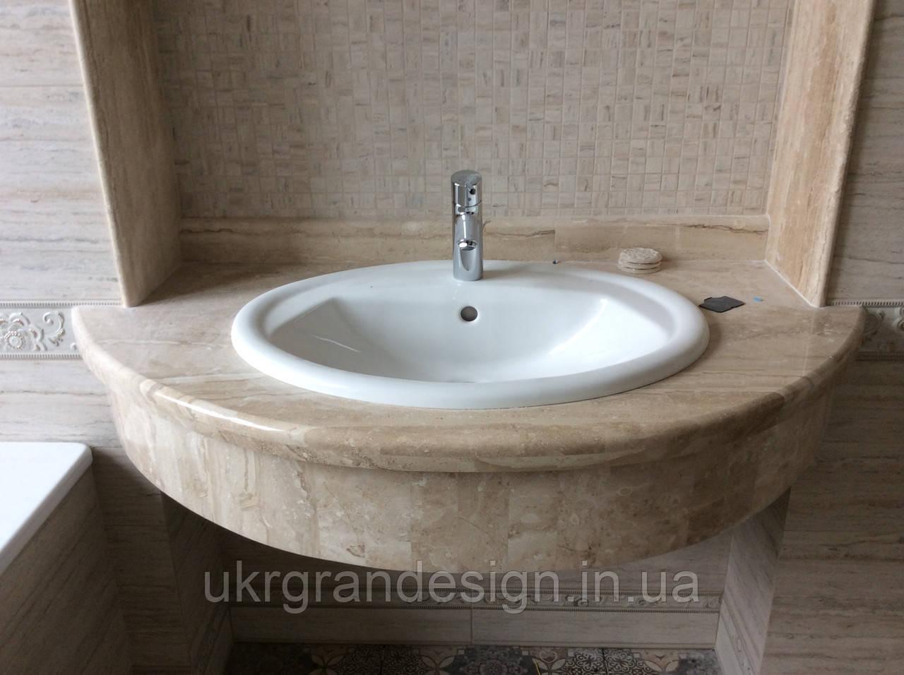 Столешница в ванную комнату из мрамора