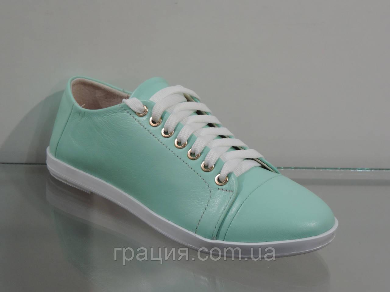 Шкіряні жіночі туфлі на шнурівці колір м'ята