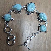 """Ажурный серебряный браслет """"Кружево-2"""" с натуральными  ларимарами от студии LadyStyle.Biz, фото 1"""