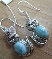 """Серебряные серьги  с ларимаром  """"Котята"""", от студии  LadyStyle.Biz, фото 1"""