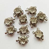 Застежка круглая цветочек серебро (17мм) (товар при заказе от 200 грн)