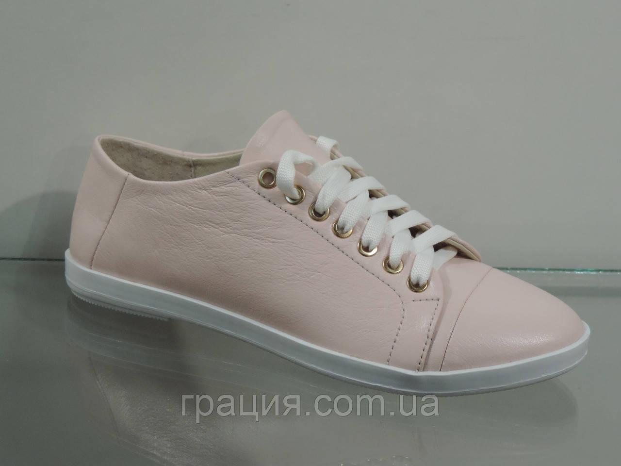 Шкіряні жіночі туфлі на шнурівці колір пудра