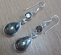 """Серебряные серьги с пиритом и раухтопазом """"Зеркало""""  от студии LadyStyle.Biz, фото 1"""