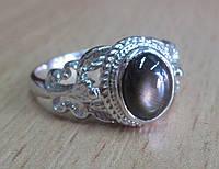 """Изящное колечко """"Черная звезда """" со звездчатым черным сапфиром, размер 17,5 от студии LadyStyle.Biz, фото 1"""