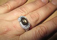 """Шикарное колечко """"Глаз Будды """" со звездчатым черным сапфиром, размер 17 от студии LadyStyle.Biz, фото 1"""