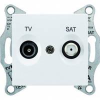 Розетка телевизионная - спутник (TV-SAT) проходная 8 dB, белый, Sсhneider Sedna Шнайдер Седна