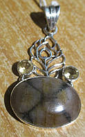 """Ажурный серебряный кулон с хиастолитом (андалузитом) и цитрином  """"""""Павлин"""", от студии LadyStyle.Biz, фото 1"""