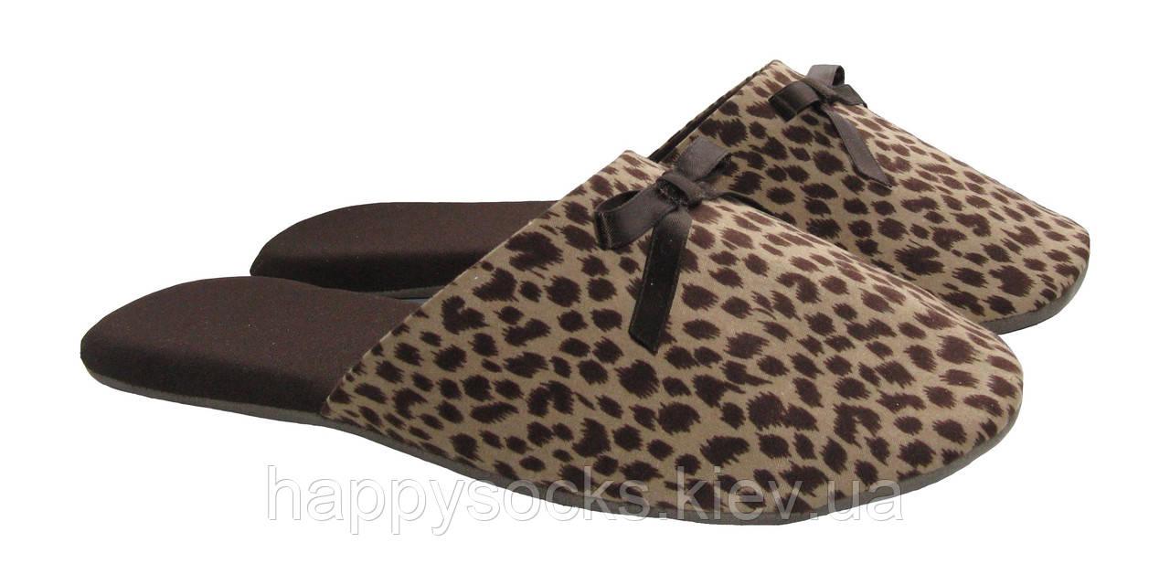 """Тапочки домашние женские в леопардовый рисунок коричневого цвета тм """"Sharming"""""""