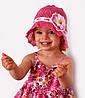 Панамка Лиза, вязаная, хлопок. р.46-49 (1-2,5 года) Бел+коралл, бел+малина, т.розовый