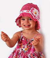Панамка Лиза, вязаная, хлопок. р.46-49 (1-2,5 года) Бел+коралл, бел+малина, т.розовый, фото 1