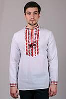 Сорочка рубашка вышиванка мужская белая длинный рукав (Украина)