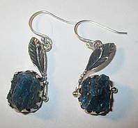 """Серебряные серьги с натуральным апатитом """"Лепесток"""",  от студии  LadyStyle.Biz, фото 1"""