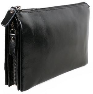 Добротний чоловічий шкіряний клатч BLACK006-2 чорний