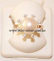 Кольцо серебро с золотом и жемчугом Сюзанна