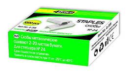 Скоби для степлера 4Office, 4-319, № 24/6, 1000 штук