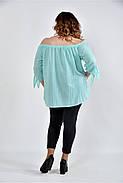 Женская мятная блуза свободного кроя 0517 размер 42-74, фото 4